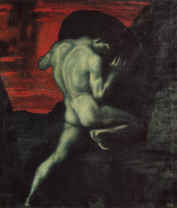 Sisyphus, di Franz von Stuck (fonte: Wikipedia) - Sísifo pure vidi che pene atroci soffriva una rupe gigante reggendo con entrambe le braccia. Ma quando già stava per superare la cima, allora lo travolgeva una forza violenta di nuovo al piano rotolando cadeva la rupe maligna. (Omero, Odissea, libro XI, versi 593-598 trad.: R. Calzecchi Onesti)