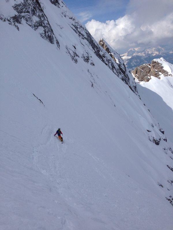 Gran Vernel, Parete Nord - discesa in snowboard di Maurizio Davarda