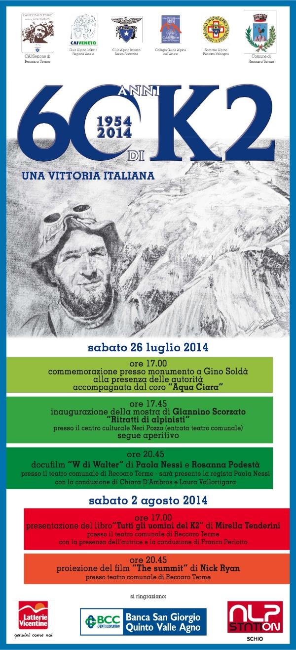 60° anniversario della conquista del K2 - locandina celebrazioni Recoaro Terme 2014