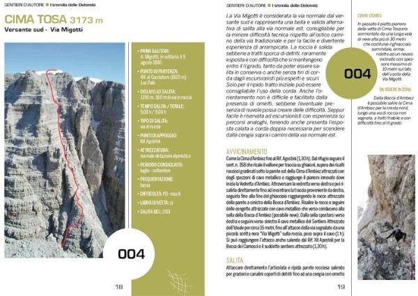 """Pagina tipo della guida """"3000 delle Dolomiti"""""""