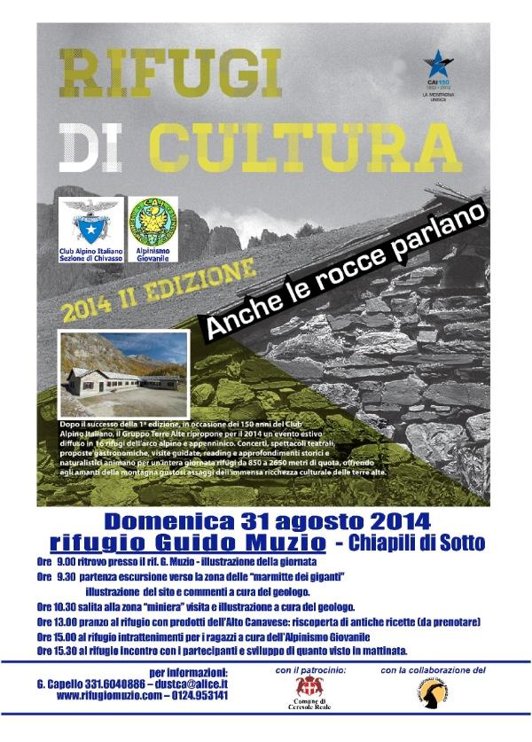 """Rifugi di Cultura 2014: evento """"Anche le rocce parlano"""", locandina"""