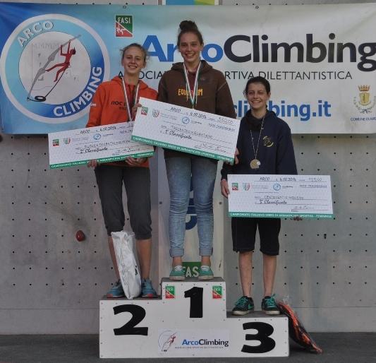 Campionato italiano assoluto Speed 2014, podio femminile. Fonte: www.federclimb.it