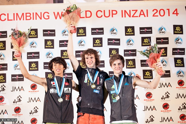 IFSC Climbing World Cup 2014, Inzai. Podio maschile Lead. Fonte: www.ifsc-climbing.org
