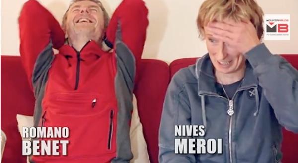 Romano Benet e Nives Meroi nella loro casa, nel corso dell'intervista di Mountainblog