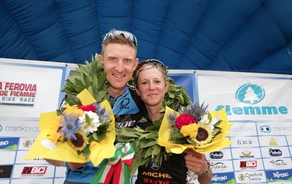 Paulissen e Gaddoni, i vincitori de La Vecia Ferovia dela Val de Fiemme. Fonte: press gara