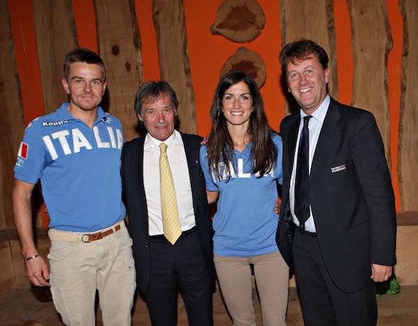 Tour de Ski. Presentazione a Milano. Da sinistra: Noeckler, Flavio Roda, Debertolis, Felicetti