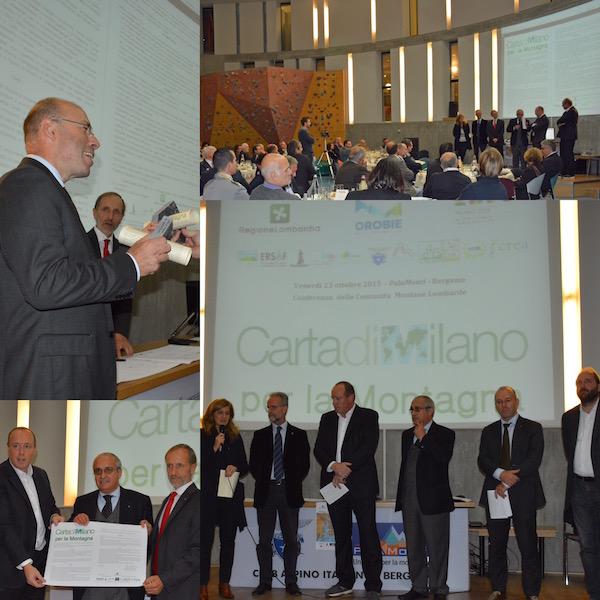 Carta di Milano per la montagna: immagini della serata di presentazione al Palamonti, Bergamo.
