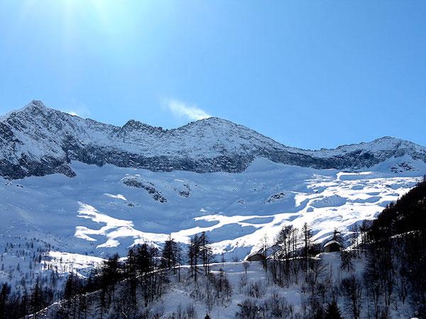 Balme. Le vette del vallone Servin in inverno. Fonte: www.montagnapertutti.org