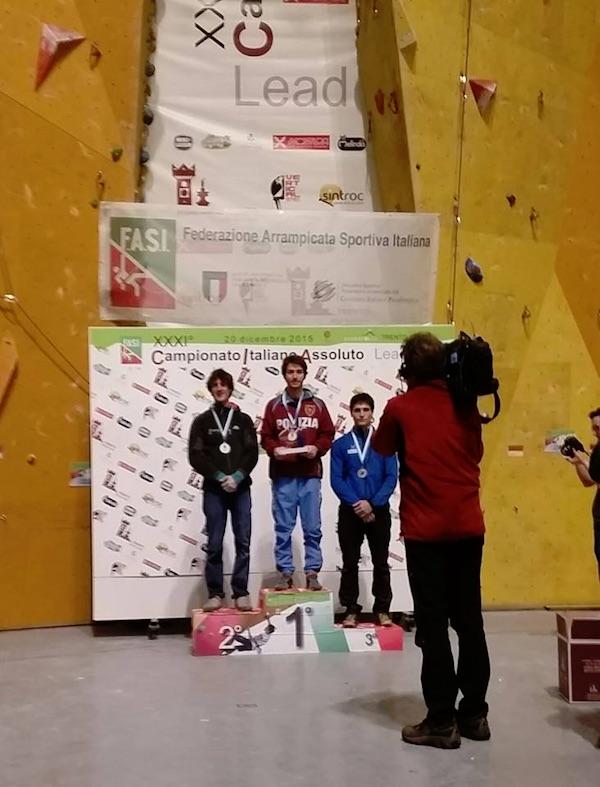 Campionato Italiano Assoluto Lead 2015. Podio Men. Oro per Stefano Ghisolfi. Fonte immagine: pagina facebook Ghisolfi