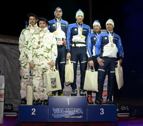 Campionati sciistici Truppe alpine 2016. Gara Team Sprint, Podio Maschile. Fonte: Esercito