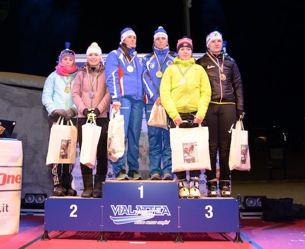 Campionati sciistici Truppe alpine 2016, Gara Team Sprint. Podio Femminile. Fonte: Esercito