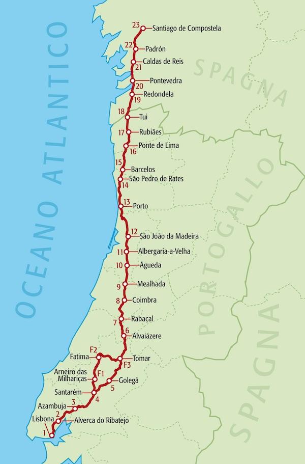 Il Cammino Portoghese. Il percorso. Fonte: www.terre.it