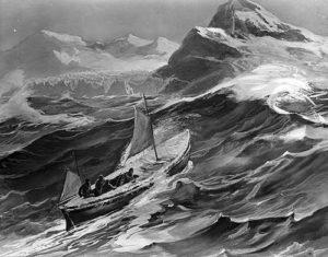 Un disegno della James Caird in viaggio verso la Georgia del Sud pubblicato nel libro di Shackleton South!