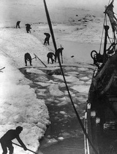L'equipaggio dell'Endurance nel tentativo di liberare la nave