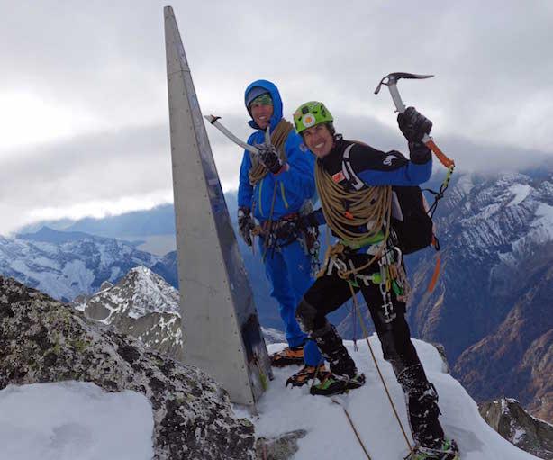Silvestro e Tomas Franchini sul Pizzo Badile. Fonte: press Sosat
