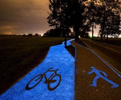 Pista ciclabile luminosa. Fonte: greenstyle.it