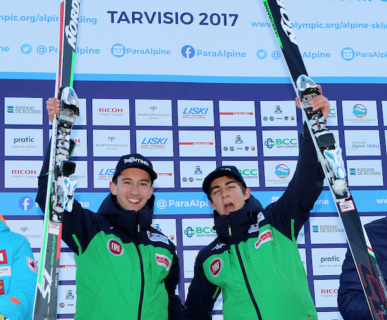 Mondiali Para Sci Alpino Tarvisio 2017 Bertagnolli e Casal sul podio  della Supercombinata. Foto: Andrea Carloni
