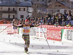 Sci di Fondo. Eric Frenzel all'arrivo il 15 gennaio 2017. Foto: Fiemme FIS Nordic Combined WC.