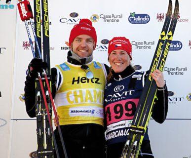 Marcialonga 2017: i vincitori, Tord Asle Gjordalen (NOR)  e Katerina Smutna (CZE). Fonte: press evento