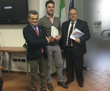 Il Presidente della Comunità del Parco Santavicca con il Direttore Nicoletti e il Presidente Navarra. Fonte: PNGSL
