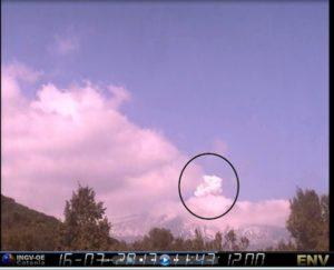 Esplosione sull'Etna. Fonte: INVG, 16 marzo 2017
