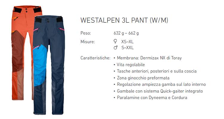 ortovox westalpen pantaloni